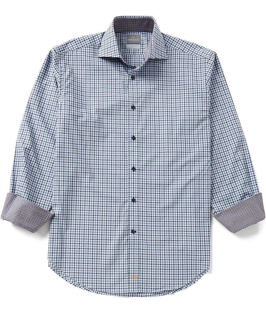Thomas Dean Long-Sleeve Dobby Check Woven Shirt