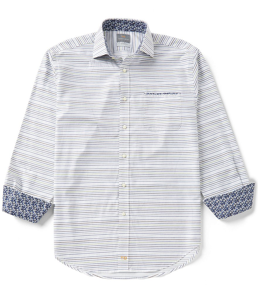 Thomas Dean Stripe Long-Sleeve Twill Woven Shirt
