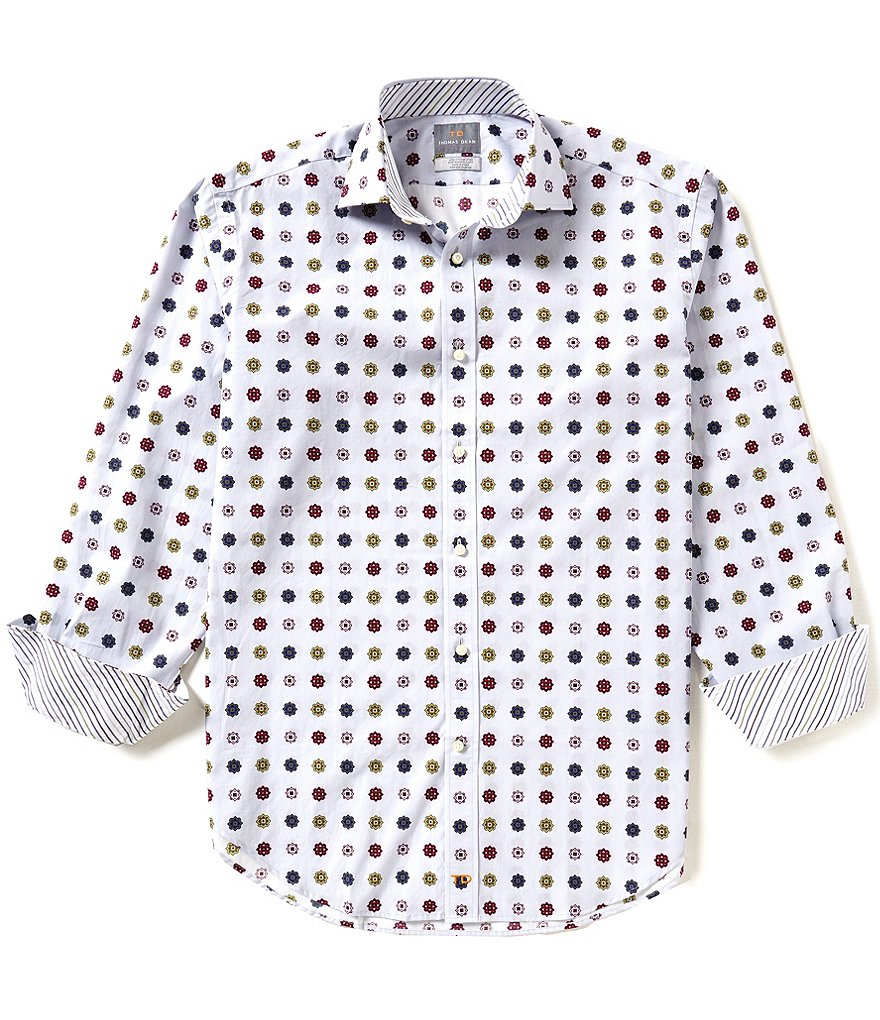 Thomas Dean Poplin Print Long-Sleeve Woven Shirt