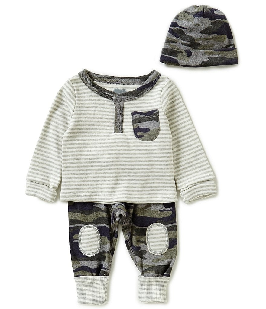 Mud Pie Baby Boys 3-6 Months Striped Tee, Camouflage-Printed Pants and Hat Take-Me-Home Set