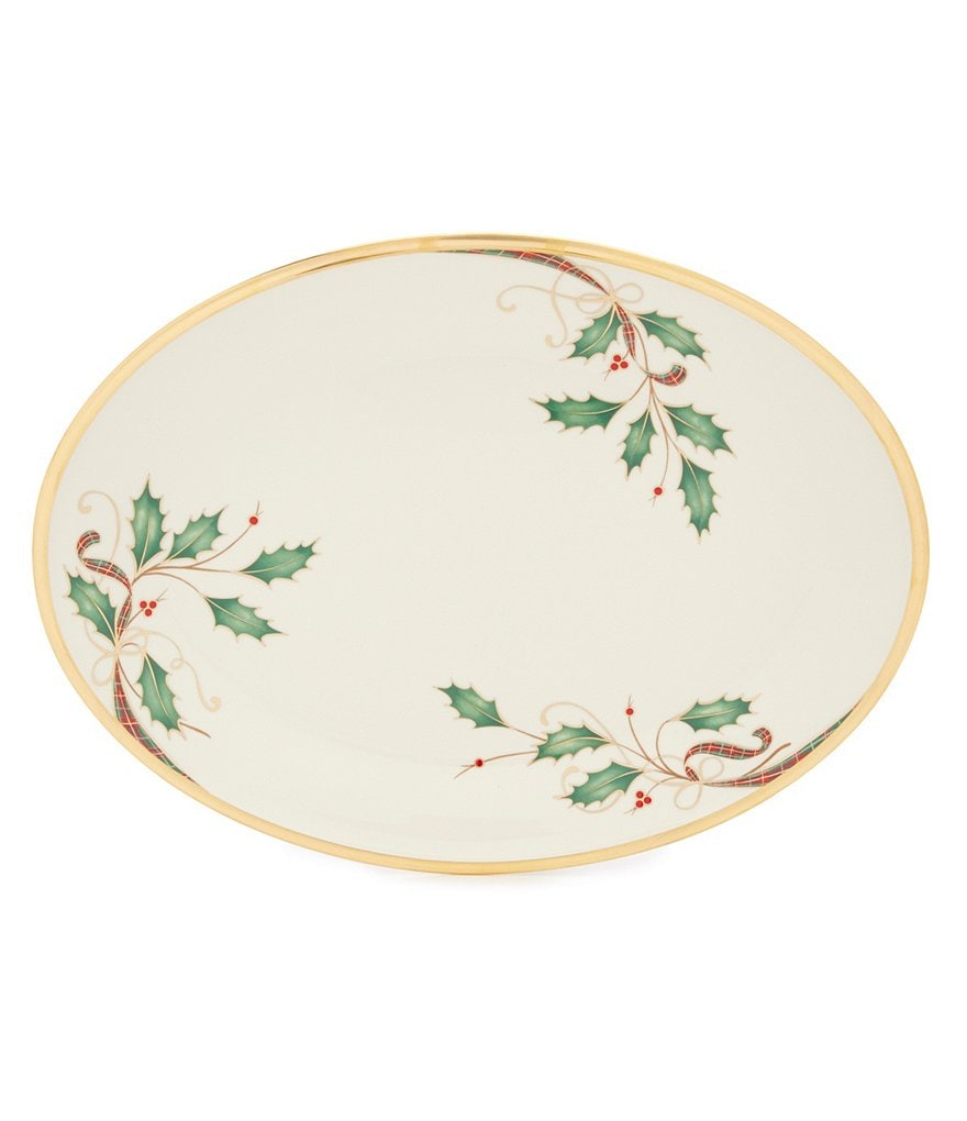 Lenox Holiday Nouveau Gold Bone China Oval Platter