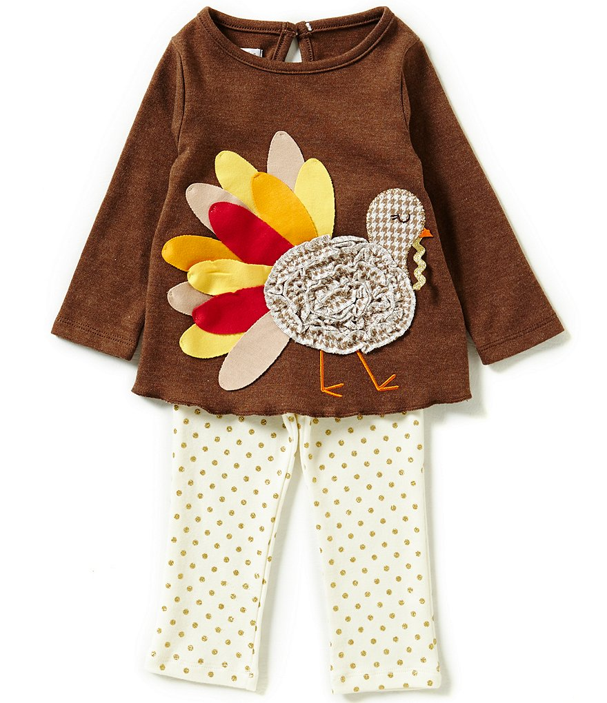 Mud Pie Baby Girls 6-18 Months Thanksgiving Turkey Tunic and Printed Leggings Set