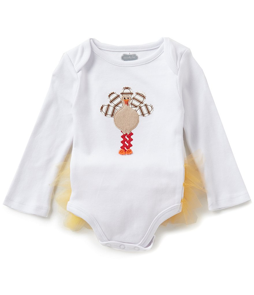 Mud Pie Baby Girls 3-12 Months Thanksgiving Turkey Tutu-Back Bodysuit