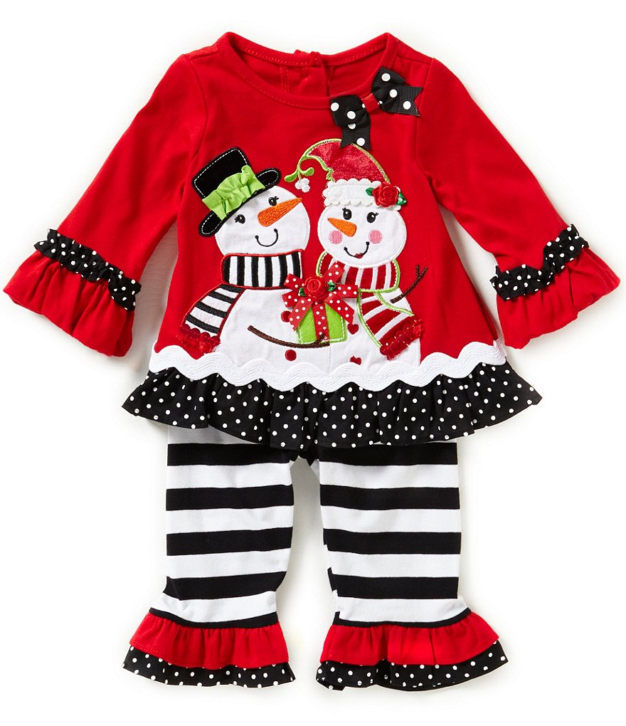 Rare Editions Baby Girls 3-24 Months Christmas Snowmen-Appliqued Dress & Wide-Stripe Leggings Set