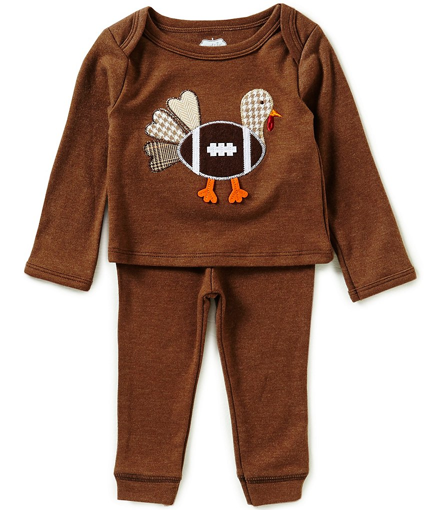 Mud Pie Baby Boys 6-18 Months Thanksgiving Turkey Football Long-Sleeve Top and Pants Set