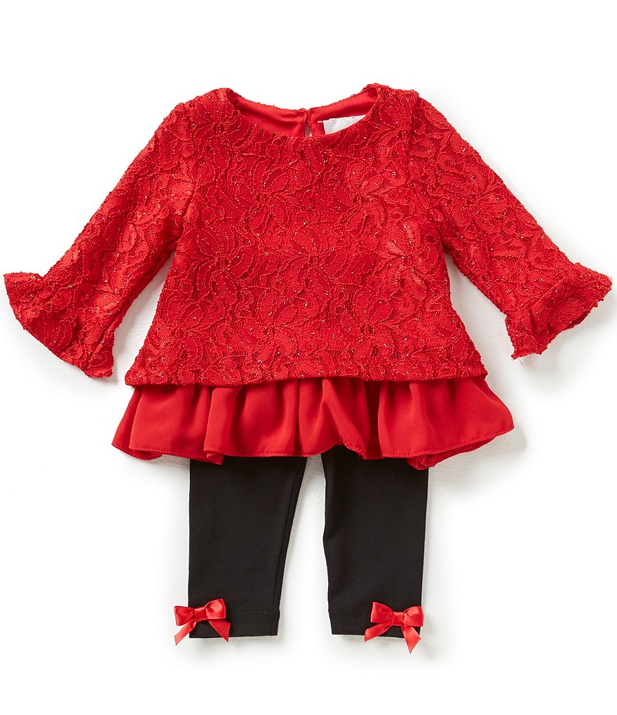 Rare Editions Baby Girls 3-24 Months Lace-To-Chiffon Popover Top and Bow-Accented Leggings Set