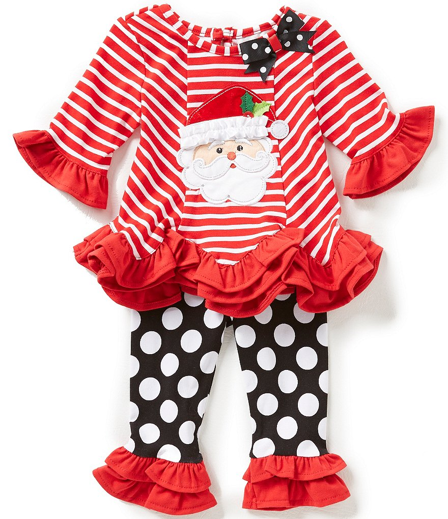 Rare Editions Baby Girls 3-24 Months Christmas Santa Face Striped Top and Large-Dot Leggings Set