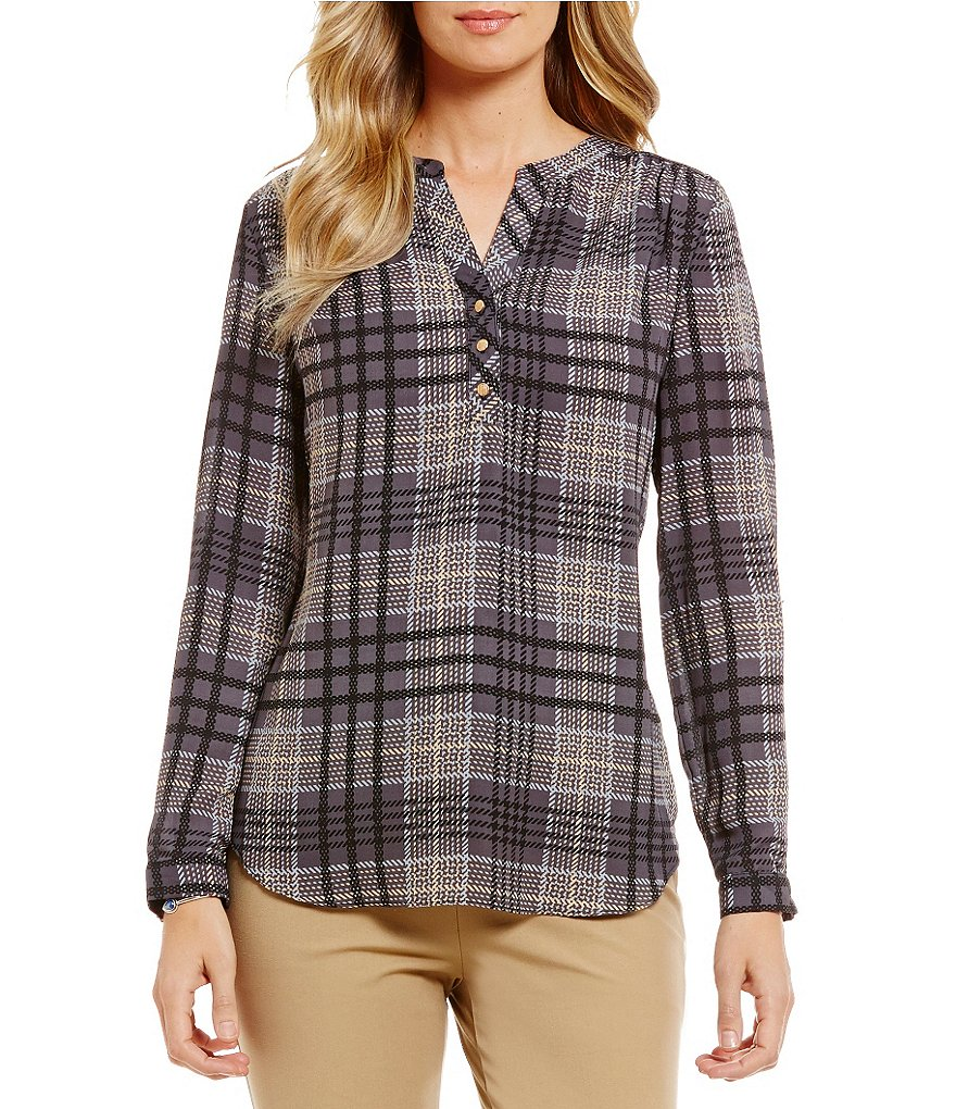 Investments Petite Long Sleeve Roll Tab V-Neck Blouse