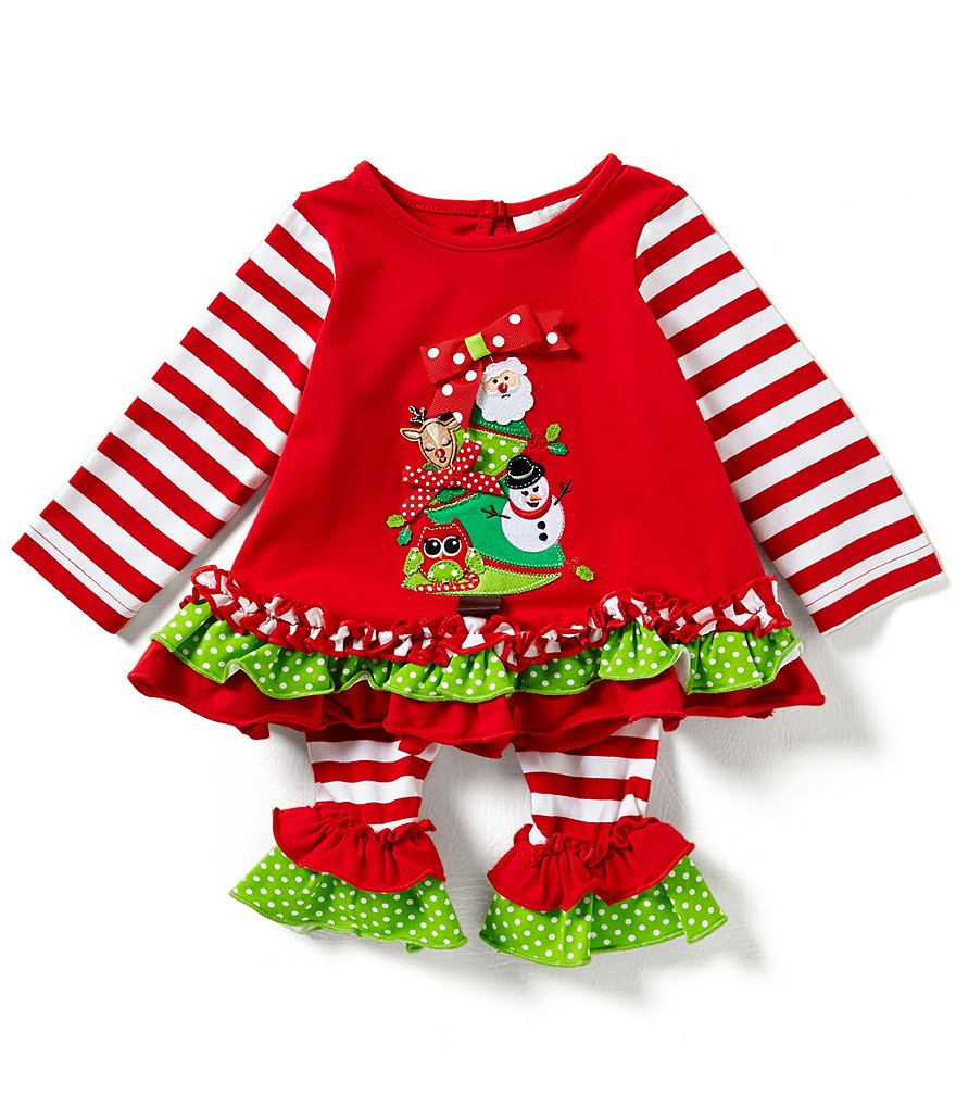 Rare Editions Baby Girls 3-24 Months Christmas Critters Appliquéd Mixed-Media Top and Striped Leggin