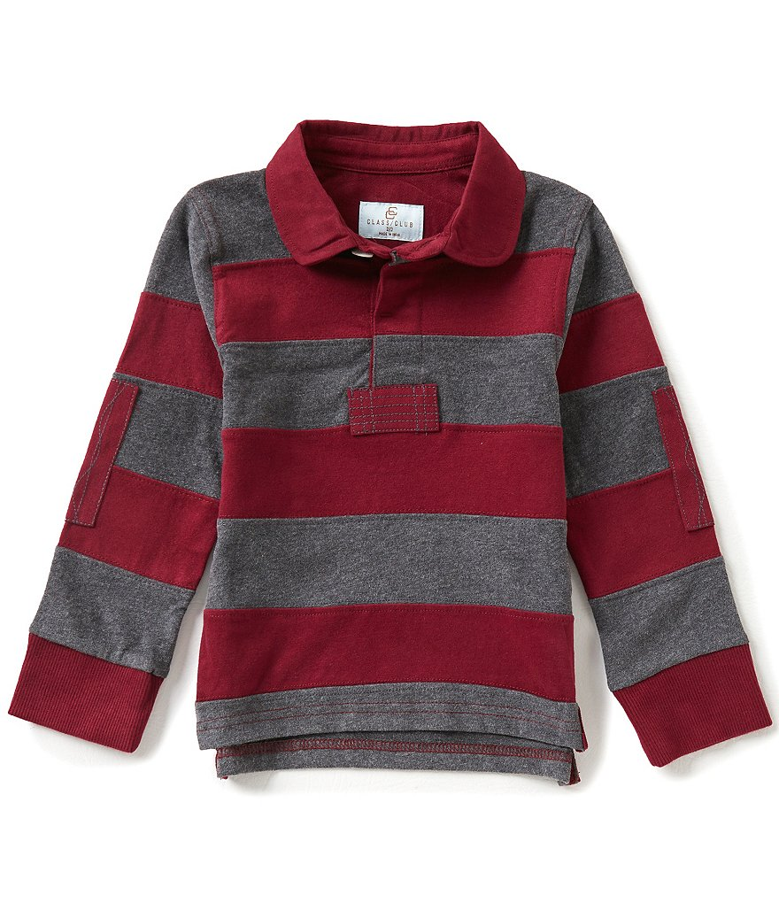 Class Club Little Boys 2T-7 Wide Stripe Elbow-Patch Rugby Shirt