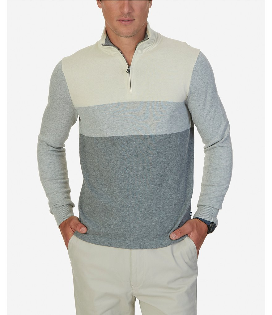 Nautica Color Block Quarter-Zip Sweater
