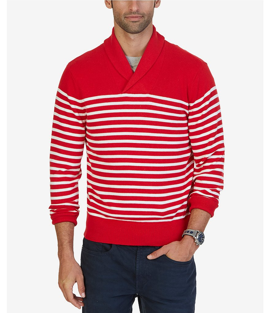 Nautica Horizontal-Striped Shawl-Neck Sweater