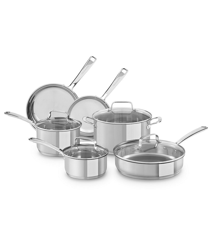 Kitchenaid stainless steel 10 piece cookware set dillards - Kitchen aid pan set ...