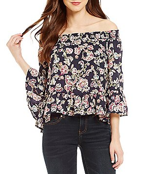 BB Dakota Off-the-Shoulder Ruffle Sleeve Printed Blouse