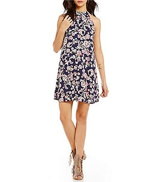 BB Dakota Printed Halter Neck Sleeveless Swing Dress