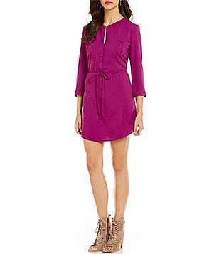 BB Dakota Kesler Split V-Neck 3/4 Sleeve Drawstring Waist Solid Crepe Dress