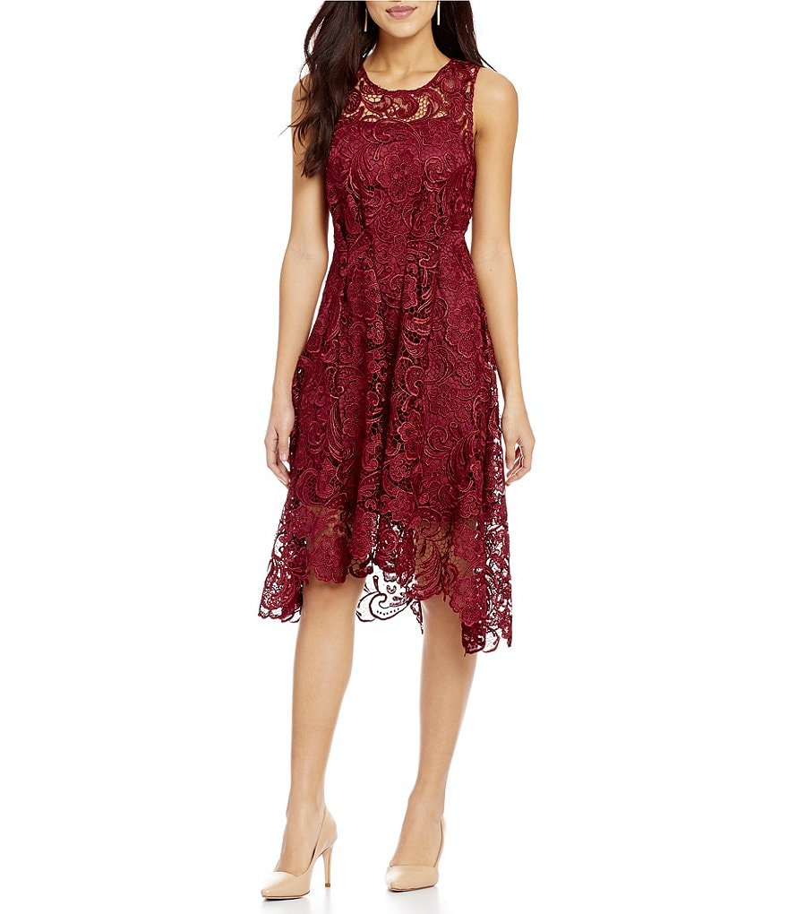 Eva Franco Round Neck Sleeveless Lace Fit-and-Flare Hi-Low Dress