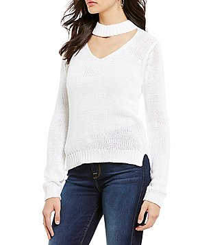 RD Style Choker Neck Long Sleeve Lightweight Sweater