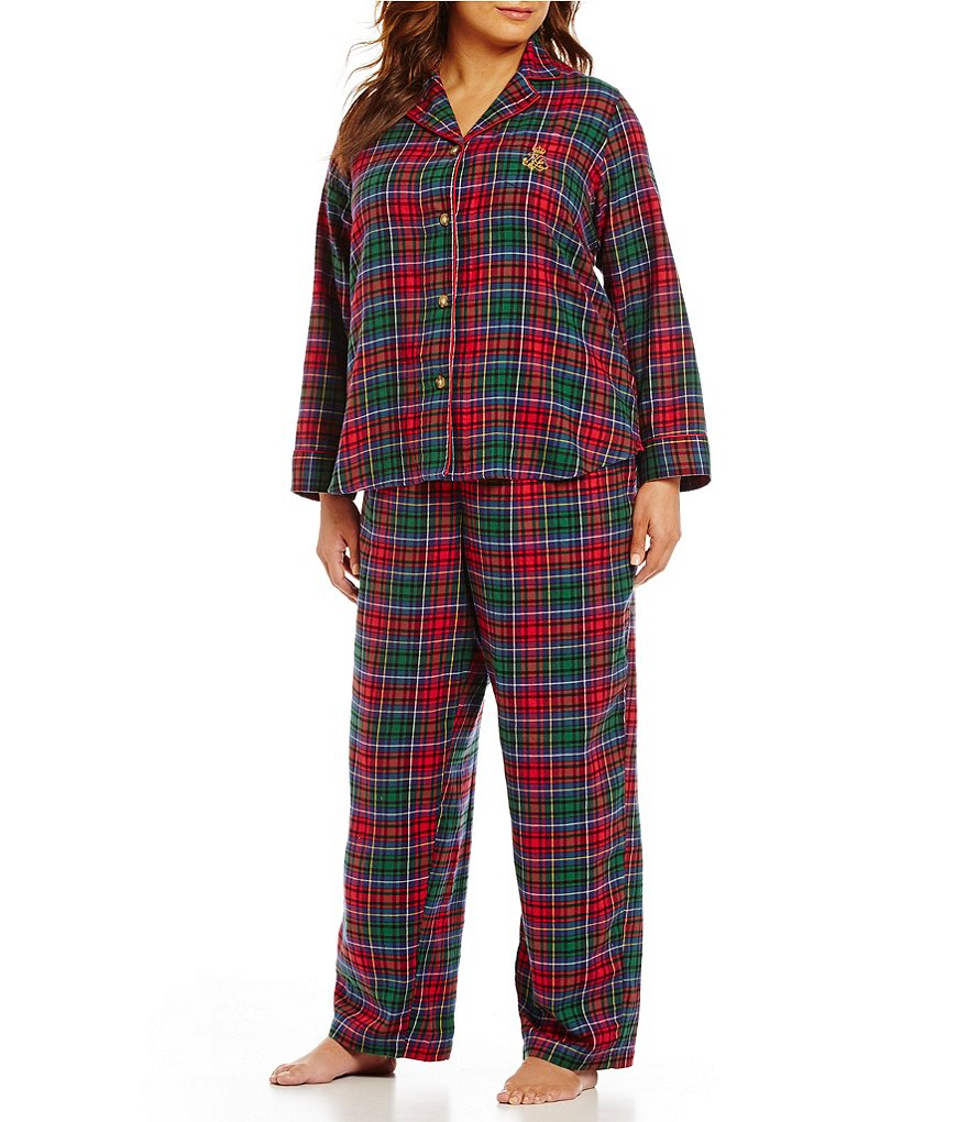 Lauren Ralph Lauren Plus Plaid Twill Pajamas