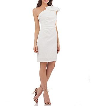 Carmen Marc Valvo Infusion One Shoulder Ruffle Sheath Dress
