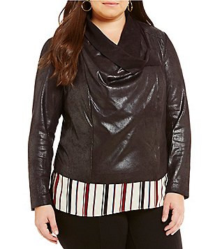 Gibson & Latimer Plus Drape Neck Soft Crinkle Moto Jacket