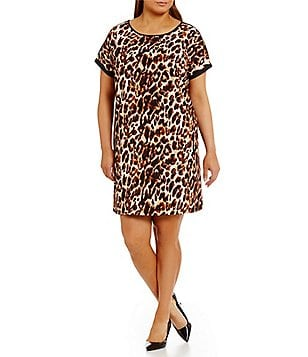 Gibson & Latimer Plus Leopard Print Shift Dress