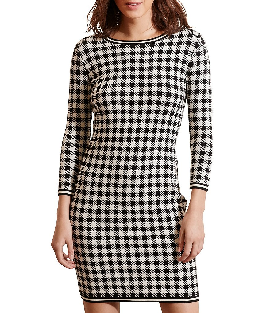 Lauren Ralph Lauren Gingham 3/4 Sleeve Sweater Dress