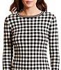 Color:Black/Peak Cream - Image 4 - Lauren Ralph Lauren Gingham 3/4 Sleeve Sweater Dress