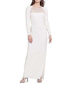 Lauren Ralph Lauren Beaded-Yoke Sheath Jersey Gown