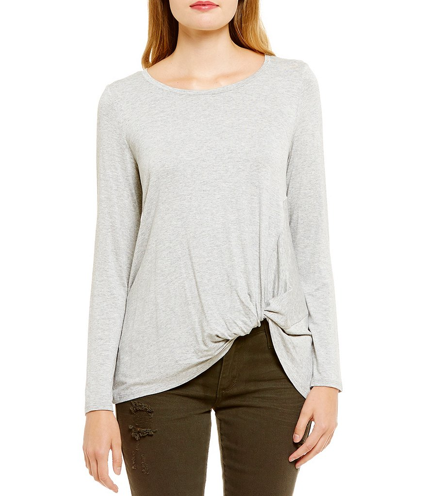 Eyeshadow Twist Side Long Sleeve Tee