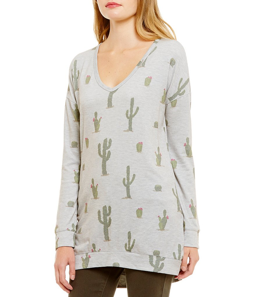 Eyeshadow Cactus Print Long-Sleeve Tunic