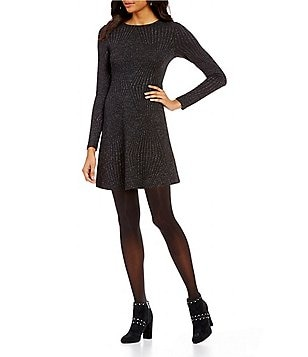 Living Doll Textured Metallic Long Sleeve A-line Dress