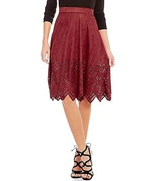 Soprano Faux-Suede Laser-Cut Scalloped-Hem Skirt