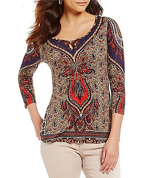 One World Apparel Embellished Keyhole 3/4 Sleeve Printed Top