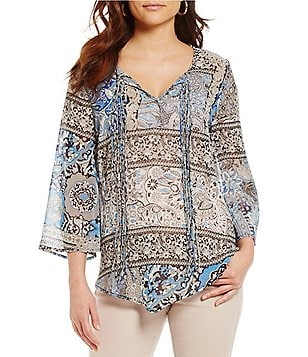 One World Apparel Moroccan Print Tassel Tie-Neck Long Sleeve Woven Top