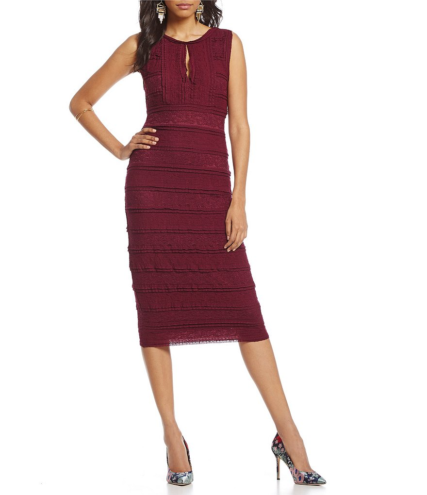 M.S.S.P. Stretch Lace Keyhole Midi Dress