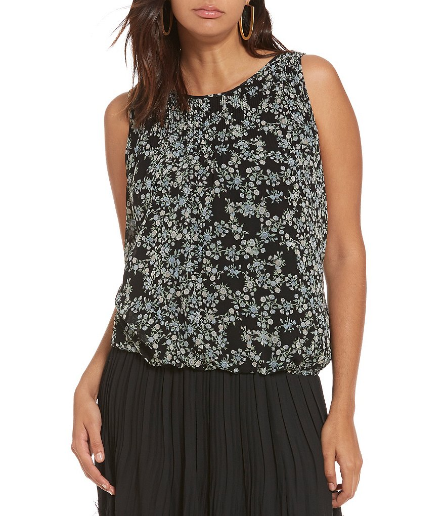 M.S.S.P. Crew Neck Sleeveless Floral Bubble Hem Blouse