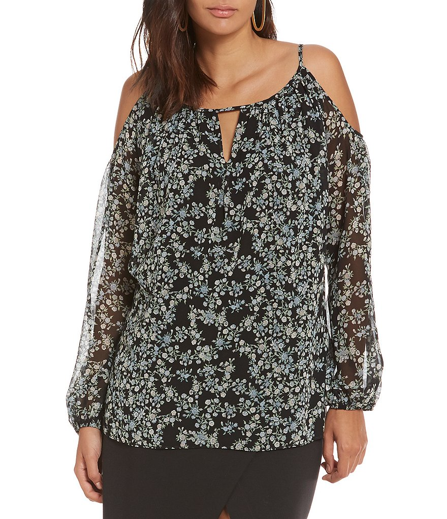 M.S.S.P. Floral Cold-Shoulder Blouse
