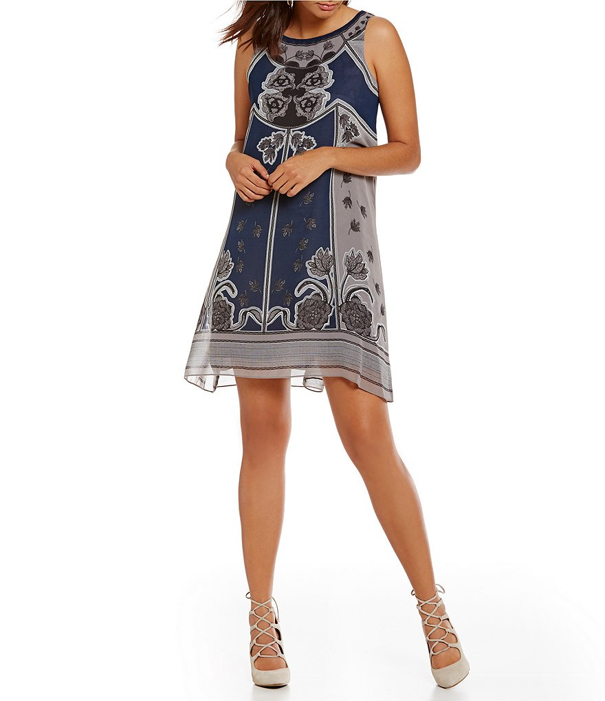 M.S.S.P. Crew Neck Sleeveless Printed Trapeze Dress