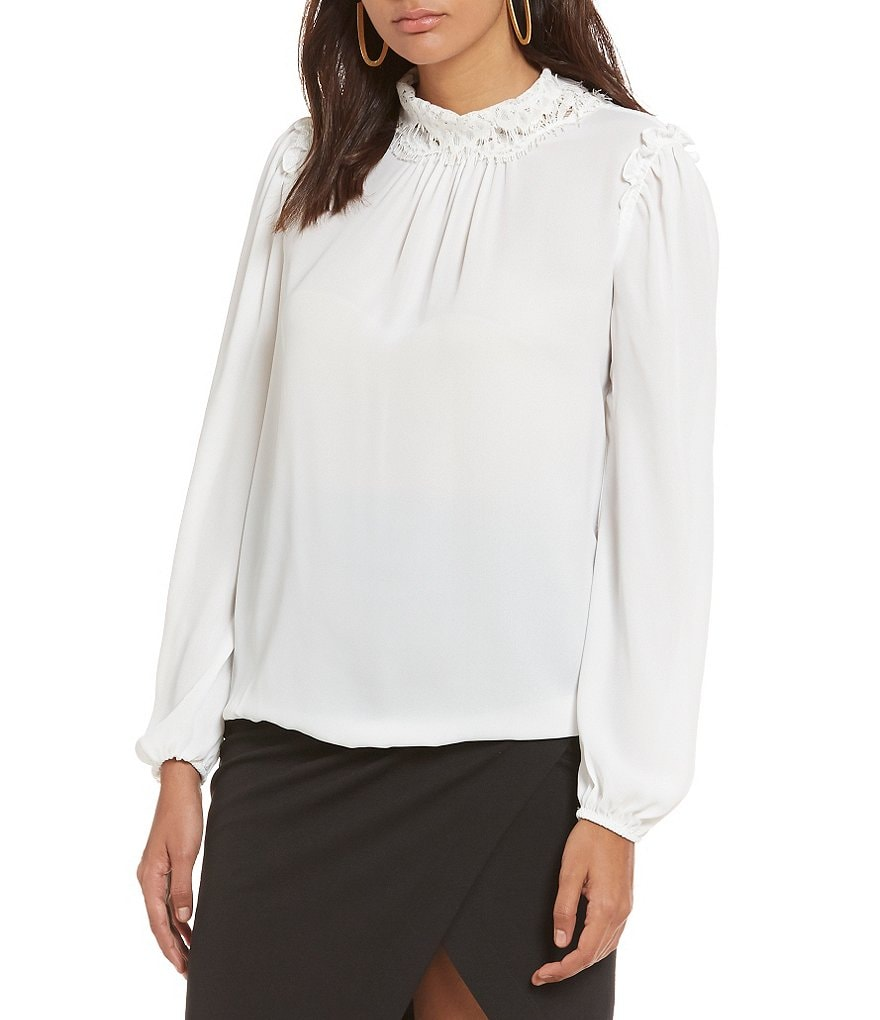 M.S.S.P. Mock Neck Lace Trim Woven Blouse