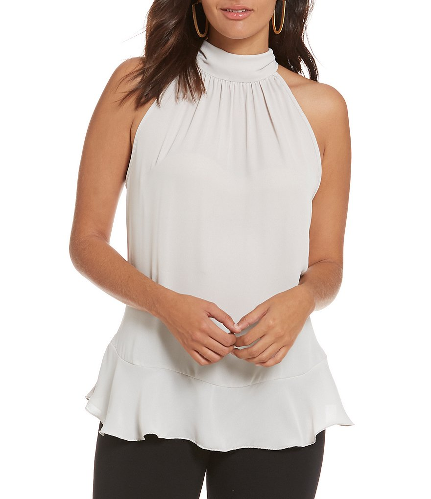 M.S.S.P. Tie Back Mock Neck Sleeveless Flounce Woven Blouse