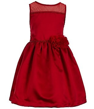 Marmellata Little Girls 2T-6X Illusion Floral Appliqué A-line Dress