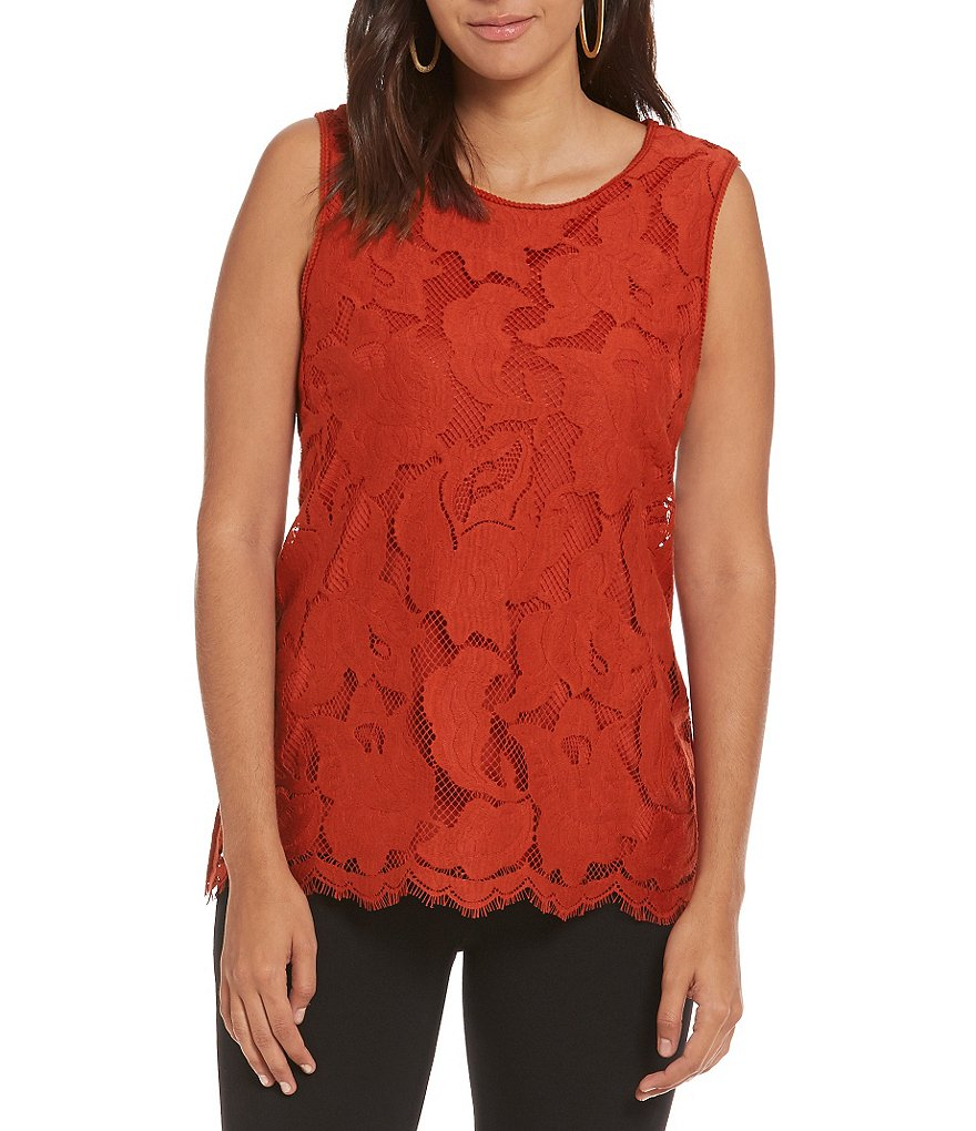 M.S.S.P. Round Neck Sleeveless Floral Lace Top