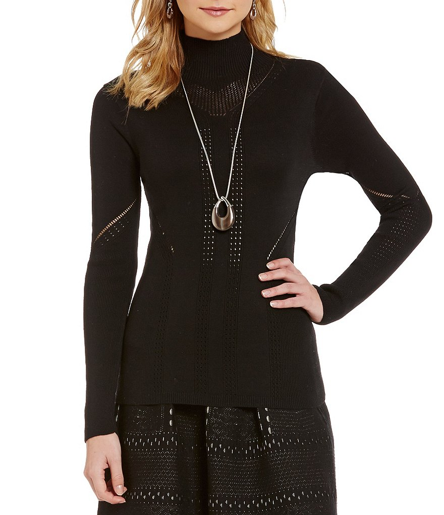 M.S.S.P. Mock Neck Pointelle Sweater