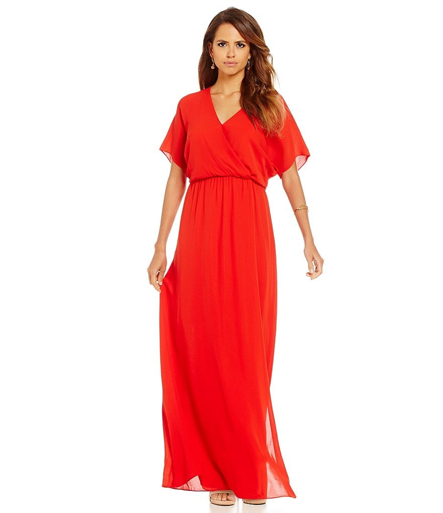 Gianni Bini Wallis Surplice V-Neck Wrap Bodice Maxi Dress