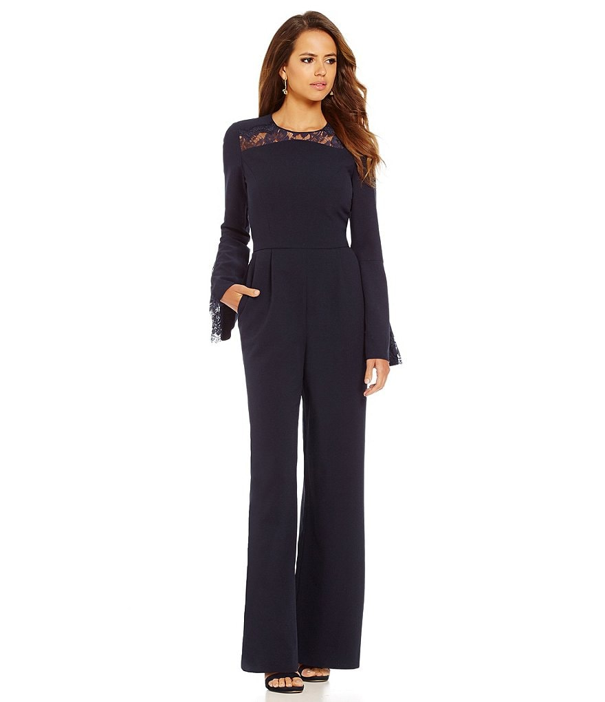 Gianni Bini Florence Lace Neck Long Bell Sleeve Wide Leg Jumpsuit