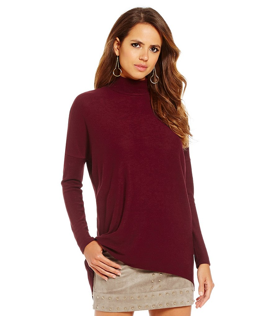 Gianni Bini Stella Mock Neck Long Sleeve Solid Knit Top