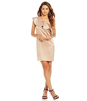 Gianni Bini Peyton Flounce One Shoulder Sheath Dress