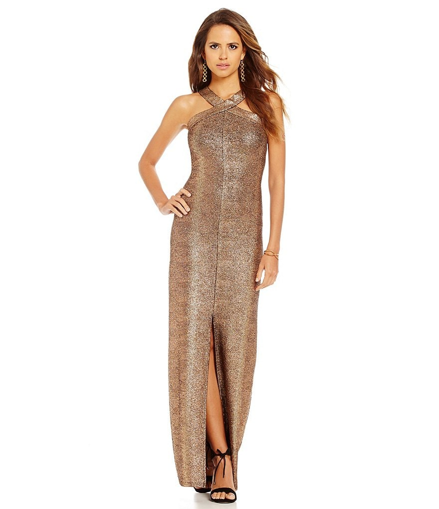 Gianni Bini Rowan Halter Neck Sleeveless Bronze Gown