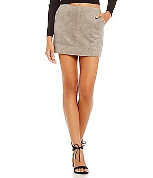 Gianni Bini Candace Faux-Suede Mini Skirt